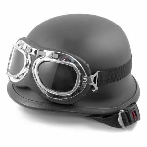TOYOSO 自転車用 バイク ジャーマンハーフ ヘルメット ヘルメット バイク ヘルメット ナチヘル 半帽 半ヘル ゴーグル付き|tysj-online