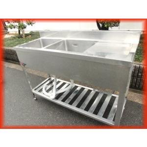 シンク 業務用 水切り付 2槽シンク 流し台 ステンレス 1200×450 保健所の申請 屋外やガーデニングに 大阪発 No594|tyubo110