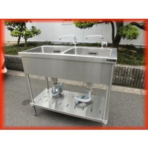 シンク 業務用 2槽シンク 流し台 ステンレス 900×450 マルゼン 蛇口付 保健所の申請 屋外やガーデニングに 中古良品 No609|tyubo110
