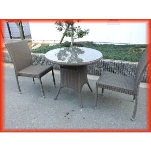 ガーデンファニチャー ラタン調 イス テーブル セット(テーブル×1 イス×2)カフェ 椅子 業務用 店舗用品 ご家庭でも 雨風に強い(1)|tyubo110