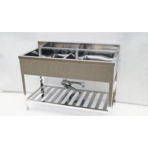 シンク 業務用 2槽シンク 流し台 ステンレス 頑丈な造りです 1200×600 大きめ 保健所の申請 屋外やガーデニングに|tyubo110