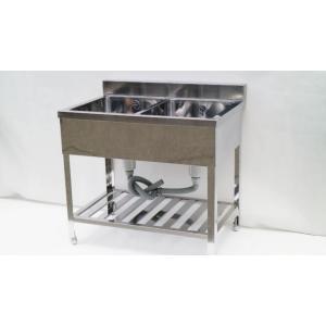 シンク 業務用 2槽シンク 流し台 ステンレス 頑丈な造りです 900×600 保健所の申請 屋外やガーデニングにも|tyubo110