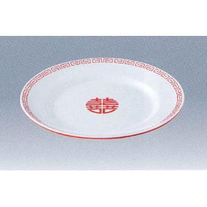 エンテック メラミン中華食器 瑞祥 外赤/内白 CA-21 中華平皿(9吋) 白/赤 ※日本製※|tyubou-byonho