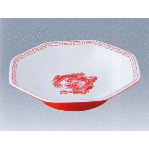 エンテック メラミン中華食器 瑞祥 外赤/内白 CA-30 八角皿(竜模様) 白/赤 ※日本製※|tyubou-byonho