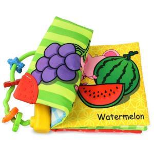 Coolplay 布絵本 赤ちゃん カシャカシャ ソフトブック 布の絵本 出産祝い 果物の認識|tywith2