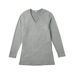 (ブロス)BROS メンズインナーシャツ 長袖 V首 GL5621 グレー L