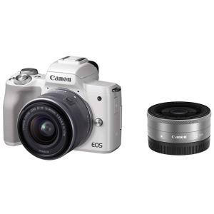 Canon ミラーレス一眼 EOS Kiss M ホワイト ダブルレンズキット EF?M22mm F...