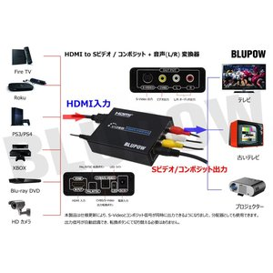 BLUPOW HDMI to コンポジット/S端子 変換器 1080P対応 HDMI to Composite 3RCA AV/S-Vide|tywith