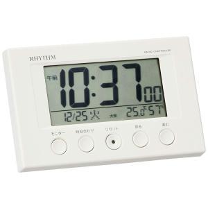 目覚まし時計 電波時計 温度計・湿度計付き フィットウェーブスマート 白 リズム時計 8RZ166SR03 tywith