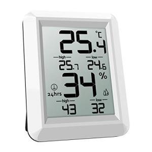ORIA デジタル温湿度計 室内温度計 湿度計 小型 LCD大画面 高精度 置き掛け両用タイプ シンプル 最高最低温湿度値表示 健康管理 持|tywith