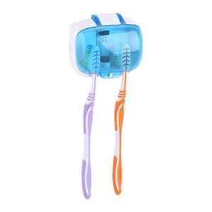 歯ブラシ除菌器 UV紫外線消毒 電池式 壁掛け式 歯ブラシホルダー 収納ケース クリーナー 口腔衛生 2本対応 家庭用 旅行用 携帯用|tywith