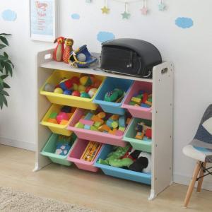 アイリスオーヤマ おもちゃ箱 キッズ トイハウスラック 天板付 パステル 幅86.3×奥行34.8×高さ79.5cm TKTHR-39 tywith