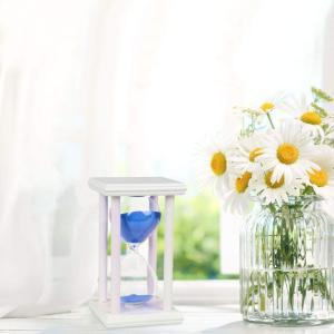 BOJIN 木製 60分計 白いフレーム 青い砂 ガラス 砂時計 タイムスイッチ サンドタイマー ホワイト ブルーの砂 白い枠 プレゼント tywith