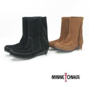 MINNETONKA ミネトンカ レディース SIDE FRINGE WEDGE BOOT(1372/1379)(FW)(20F-4) u-oak
