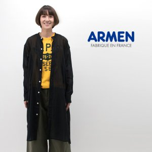 ARMENより、ユーティリティーバンドカラーロングシャツが届きました! 風通しの良いインド綿のガーゼ...