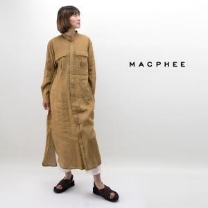 8011a07230532 MACPHEEより、フレンチリネン バンドカラーシャツワンピースが届きました! 定番人気