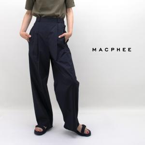 TOMORROWLAND MACPHEE マカフィー レディース コットンサテンタイプライター フロントタックパンツ(12-04-92-04433HN)(2019SS)|u-oak
