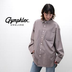 Gymphlex ジムフレックス レディース 2カラーストライプ オーバーサイズシャツ(J-1355NTS)(2019FW)|u-oak