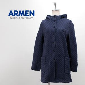 ARMEN アーメン レディース コットンキルト ミディアム丈フードジャケット(NAM1301)(FW)|u-oak