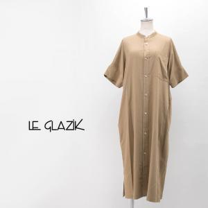 Le glazik ル グラジック レディース ツイルノーカラーワンピース(JL-3742RPT)(2020SS)|u-oak