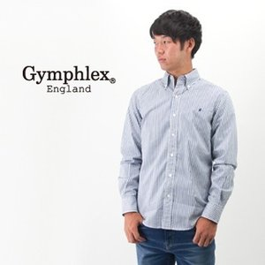 Gymphlex ジムフレックス メンズ ボタンダウン ストライプ/ギンガムチェック シャツ(J-0643TSS)(BASIC)|u-oak