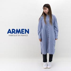 ARMEN アーメン レディース コットンユーティリティー バンドカラーロングシャツ(INAM1902CW)(2020SS)|u-oak