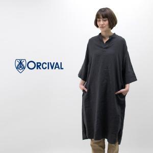 ORCIVAL オーシバル レディース リネンクロス ヘンリーネックワンピ−ス(RC-3705YLM)(BASIC) u-oak