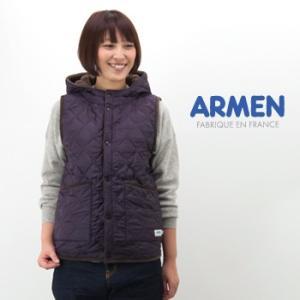 ARMEN アーメン レディース キルティングフード付きリバーシブルベスト(NAM0971)(2015FW)|u-oak