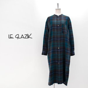 Le glazik ル グラジック レディース ポリエステルウール ノーカラーチェックシャツワンピース(JL-3725YUN)(2020FW)|u-oak