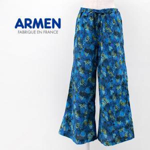 ARMEN アーメン レディース コットンプリント ワイドパンツ(2103)(2021SS)|u-oak