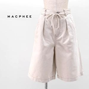(SALE 40%OFF)TOMORROWLAND MACPHEE マカフィー レディース コットンリネンデニム ハーフパンツ(12-04-11-04034HY)(2021SS)(返品交換不可) u-oak