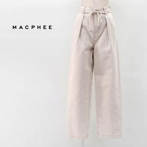 (SALE 40%OFF)TOMORROWLAND MACPHEE マカフィー レディース コットンリネンデニム ワンタックストレートパンツ(12-04-11-04035HY)(2021SS)(返品交換不可) u-oak