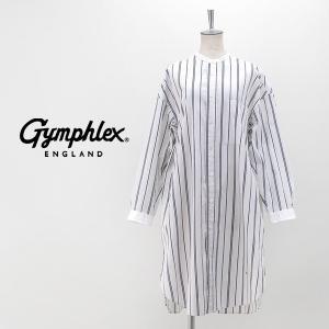 Gymphlex ジムフレックス レディース マルチストライプ バンドカラーシャツワンピース(J-1363MUP)(2020SS)|u-oak