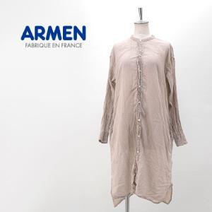 ARMEN アーメン レディース コットンガーゼ バンドカラーロングシャツ(INAM1902GD)(BASIC)|u-oak