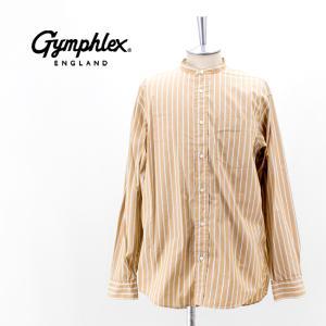 Gymphlex ジムフレックス メンズ ストライプ バンドカラーシャツ(J-1352MUL)(2021FW)|u-oak