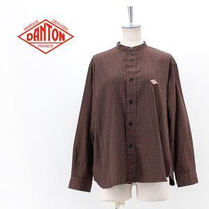 DANTON ダントン レディース コットンツイル バンドカラーシャツ(DT-B0001SVE)(2021FW)|u-oak