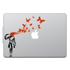 MacBook Air / Pro マックブック ステッカー シール ガン シューティング バタフラ...