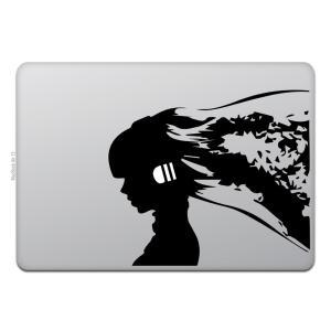 MacBook Air / Pro マックブック ステッカー シール ミュージック ガール シルエッ...