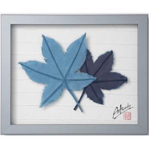 Art Works マロニエ 藍染め インテリア 壁飾り 和紙 草木染 ギフトト フレームアート|ubido