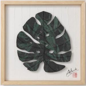 Art Works モンステラ迷彩L インテリア 壁飾り 和紙 草木染 ギフトト フレームアート|ubido