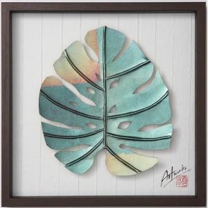 Art Works モンステラ 玉虫箔L インテリア 壁飾り 和紙 草木染 ギフトト フレームアート|ubido