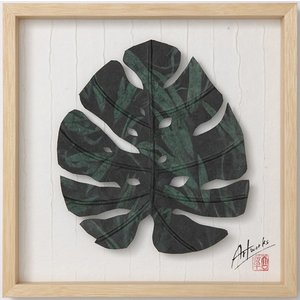 Art Works モンステラ迷彩S インテリア 壁飾り 和紙 草木染 ギフトト フレームアート|ubido