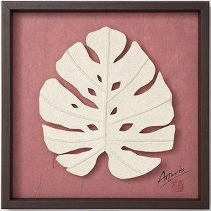 Art Works モンステラ えぼし風S インテリア 壁飾り 和紙 草木染 ギフトト フレームアート|ubido