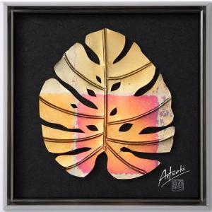 Art Works モンステラ NANASAI S インテリア 壁飾り 和紙 草木染 ギフトト フレームアート|ubido