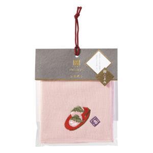 SALE inishie いにしへ 和こよみ タオルハンカチ 桜もち 無撚糸 ガーゼ 約25×25c...
