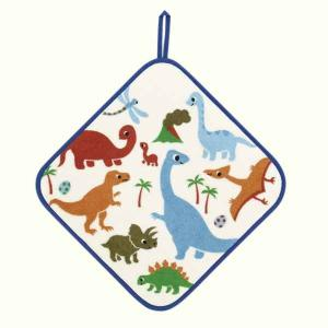 SALE ゲストタオル 子供 キッズ アッコトト きょうりゅう ループ付 ブルー 約30x30cm ウチノタオル|uchino
