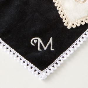 タオルハンカチ イニシャル刺繍 モノグラムハート 黒 名入れ ウチノタオル