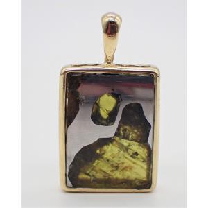 イミラック・パラサイト + K18  長方形 ペンダントトップ 7.6g Imilac Pallasite Meteorites 石鉄隕石 uchumura