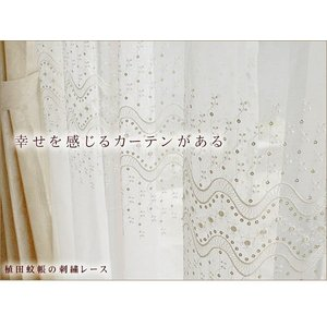 エンブロイダリー レースカーテン (13172)幅〜100cm−丈〜200cm 2枚組|uedakaya