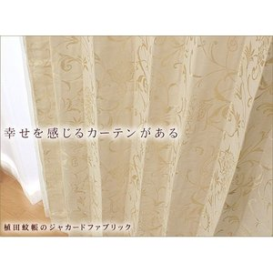ジャカード織りカーテン(965005-BE) 幅100cm−丈235〜260cm 2枚組|uedakaya